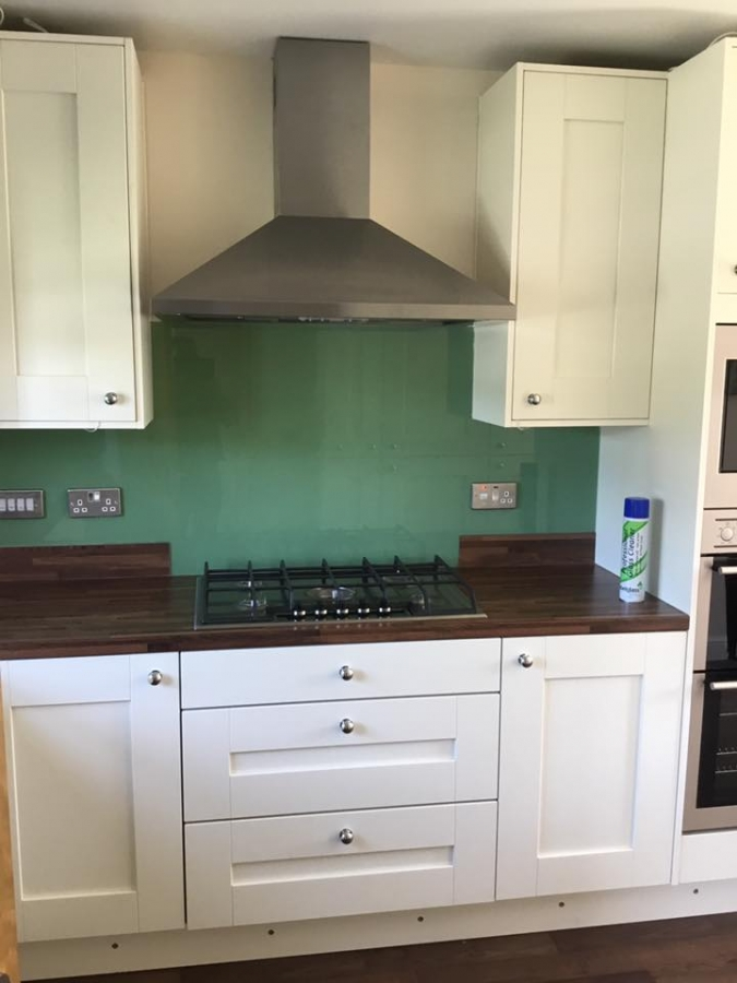 mint green glass splashback