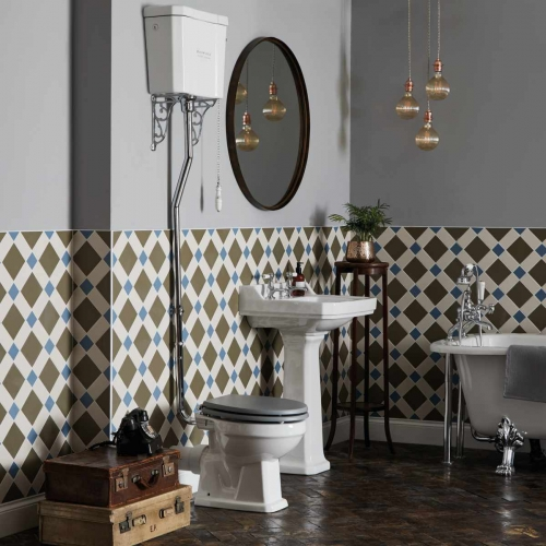Bayswater Fitzroy Comfort Height High Level Toilet with Traditional Chain Pull