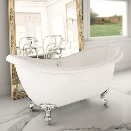 Earl 1750 Double Ended Roll Top Slipper Bath + Chrome Leg Set
