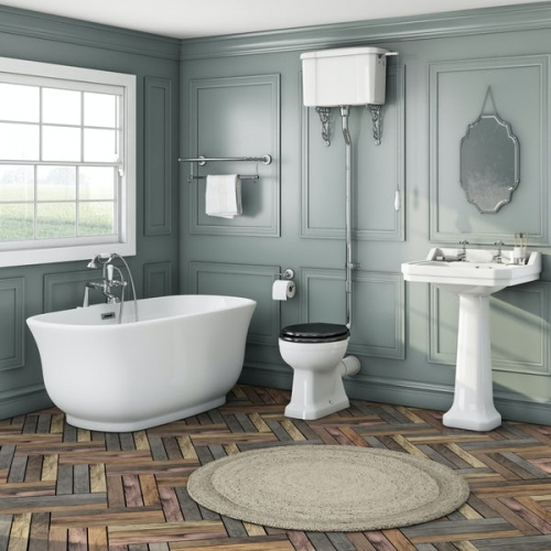 The Bath Co. Camberley high level freestanding bath suite with black seat
