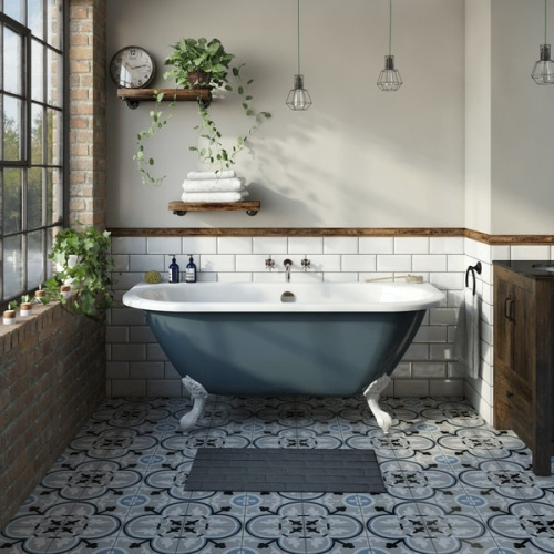 The Bath Co. Dalston province blue back to wall freestanding bath with white ball and claw feet